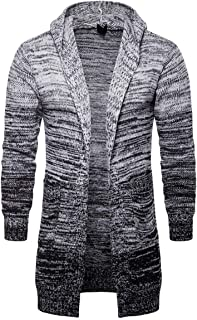 Men's Hooded Cardigan Gradient Long Sweater Cotton Buttonless Casual