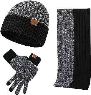 Men's Winter Beanie Hat Neck Warmer Scarf and Touchscreen Gloves Set 3 Pcs Fleece Lined Skull Knit Cap for Women