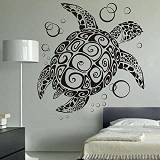 Sea Turtle Ocean Wall Decal Turtle Wall Sticker Under The Sea Animals Wall Decor Vinyl Tortoise Wall Decal Wall Graphic Wall Mural Home Art Decor Black