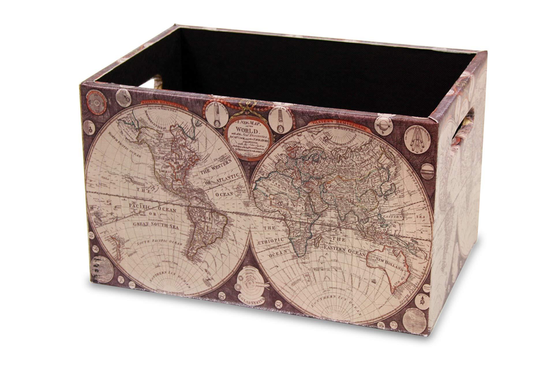 MIMBRE NATURAL Caja Madera Mundo (30x20x18): Amazon.es: Hogar