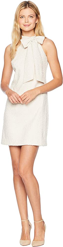 Boucle Halter Dress with Bow at Neck