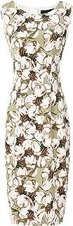 Women's Sleeveless Round Neck Sheath Cocktail Dress Midi Work Office Dress