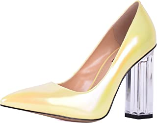 Transparent Block Square High Heels for Women Sexy Pointed Toe Pearl Shining Leather Pumps Party Wedding Dress Shoes