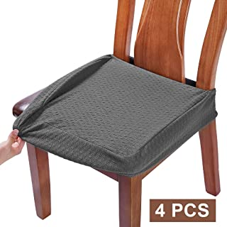 BUYUE Dining Room Chair Covers Washable Jacquard Stretch Seat Cushion Protector for Upholstered Chair Slipcover (Style B,Set of 4, Gray)