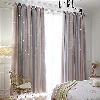 YTK Lot de 2 rideaux occultants à double couche - Motif étoiles - Pour chambre d'enfant, salon - 132 x 214 cm