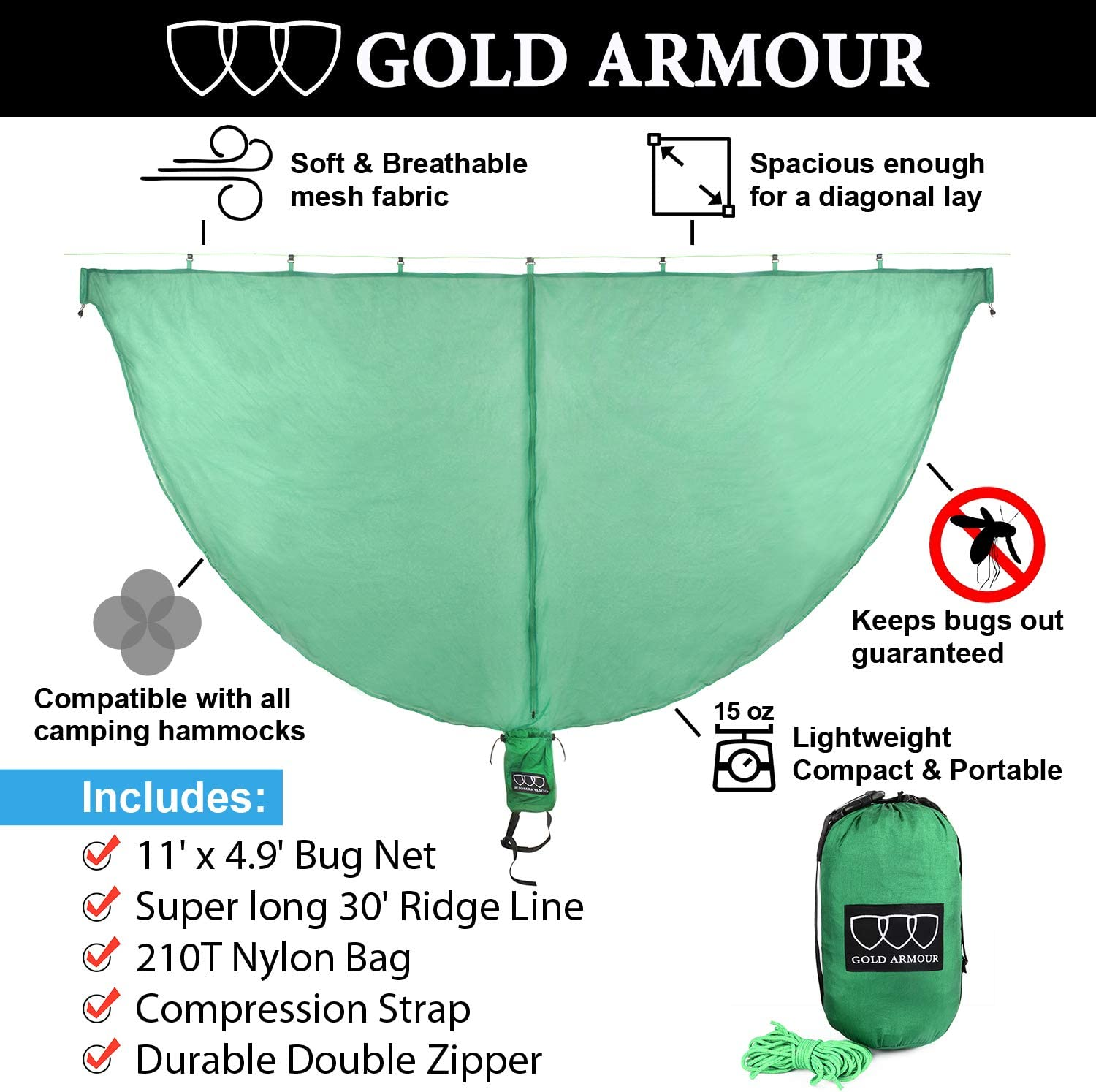 Guardian Mosquito Net for Bugs No See Um and Insects Perfect Accessory for Your Hammocks Best Premium Quality Mesh Netting Gold Armour Hammock Bug Net