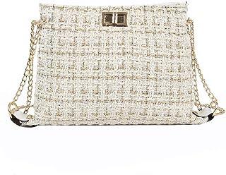 Chain Crossbody Bag Women Elegant Shoulder Bags Twill Girls Messenger Bag (Ivory)