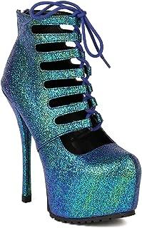 Women New Metallic Multiple Color Lace Up Platform Stelitto Heel Ankle Bootie BA39 - Teal