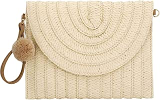 Byinns Straw Clutch Handbag for Women with Pom Pom Strap Bohe Clutch Bag Purse Wallet for Summer Beach Party