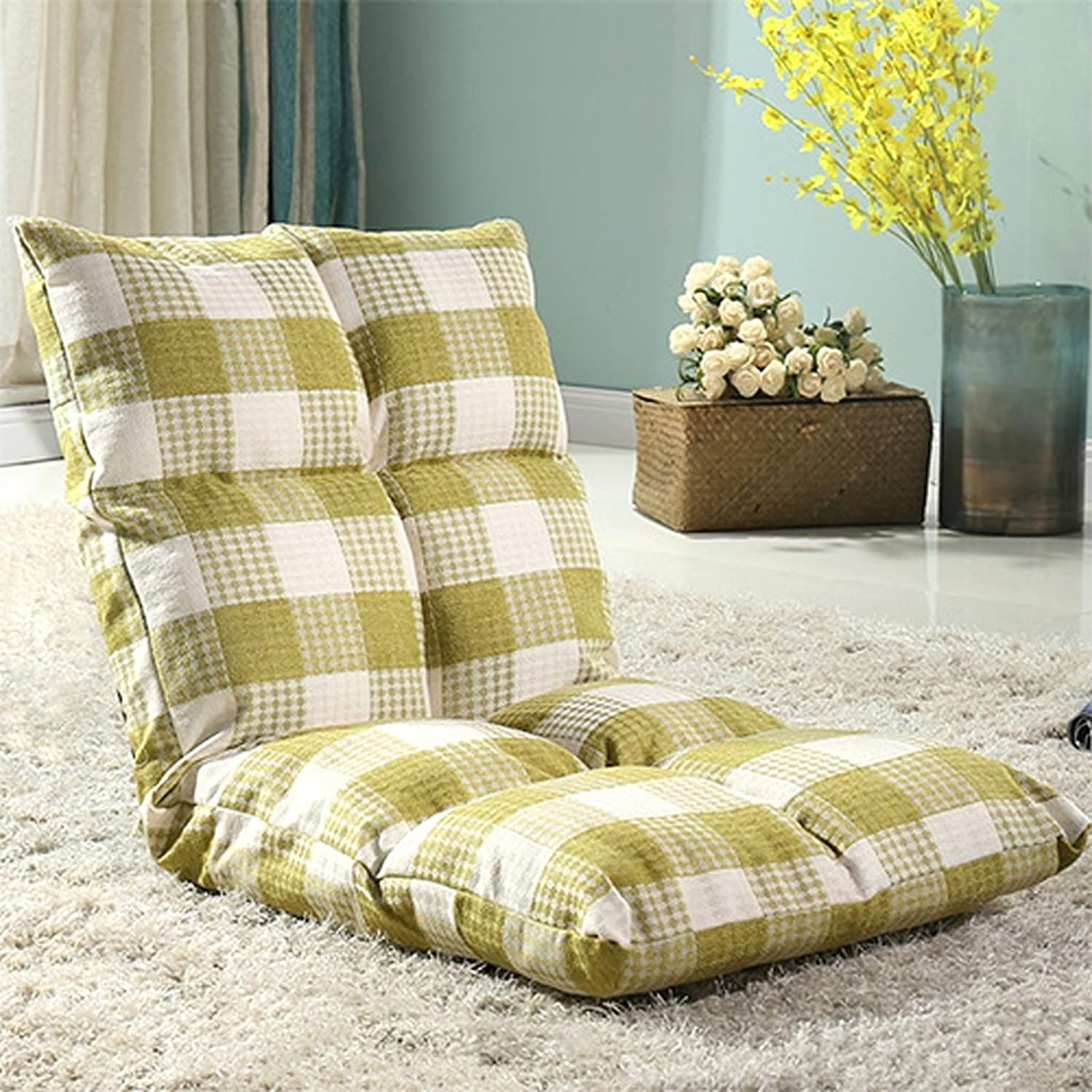 Lazy Couch Single Tatami Chair Bedroom Balcony Lounge Sofa Stylish Single Small Sofa Multifunction Armchair on The Bed Foldable Soft and Comfortable (color   Green)