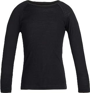 Icebreaker Merino Kids 200 Oasis Long Sleeve Crewe Top, Black, Size 03