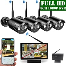 【2019 Update】 10 inch Screen HD 1080P 8-Channel Outdoor Wireless Security Camera System,4pcs 1080P Wireless IP67 Weatherproof IP Cameras,70FT Night Vision,P2P,App, NO Hard Drive