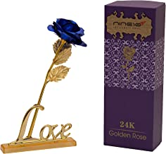 NINE10 Blue Rose 24K Gold Foil/Gold Plated Rose Box and Love Stand