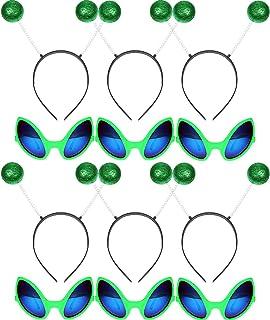 6 Pairs Alien Glasses Green Plastic Alien Sunglasses and 6 Pieces Martian Antenna Headband Boppers Green Ball Headband Bop...