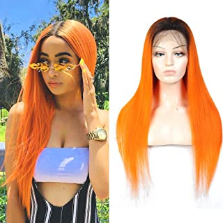 YOLAMI Ombre Two Tone T1B/Orange Full Lace Wigs Human Hair Pre Plucked Hairline With Baby Hair 150% Density Virgin Brazili...