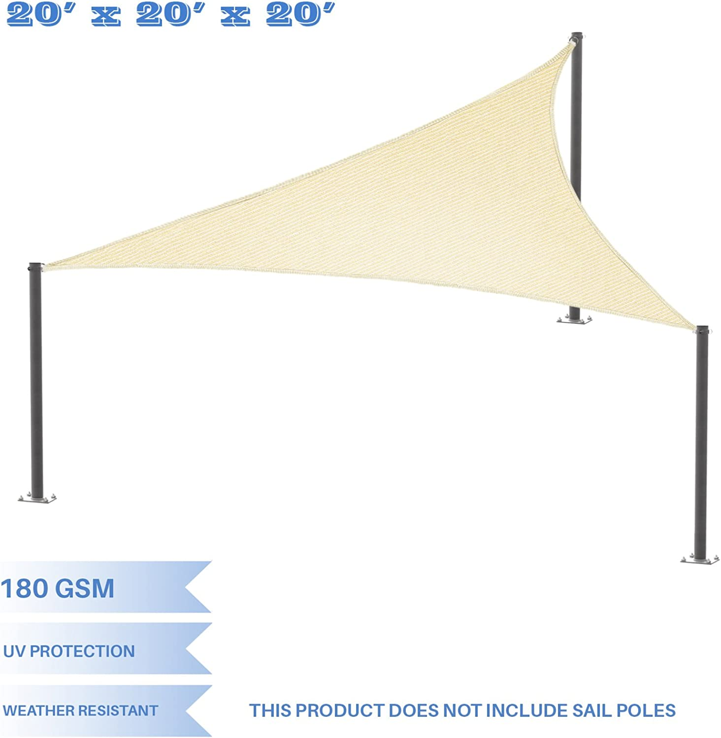E&K Sunrise 8'x8'x8' Beige Equilateral Triangle Sun Shade Sail Outdoor Shade Cloth UV Block Fabric