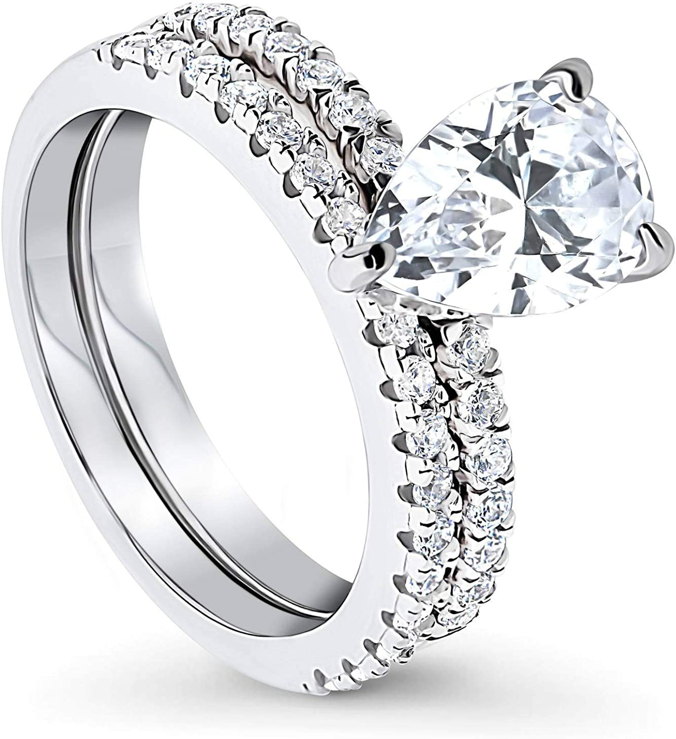 BERRICLE Rhodium Plated Ranking TOP6 Sterling Silver Pear Zirconia Cut Low price Cubic