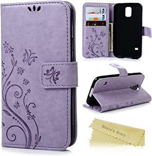 S5 Case, Samsung Galaxy S5 Case - Mavis's Diary Premium Wallet PU Leather with Fashion Embossed Floral Butterfly Magnetic Clasp Card Holders Flip Cover with Hand Strap - Light Purple