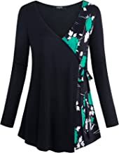 Lotusmile Women's Long Sleeve Wrap Tops V Neck Floral Print Tunic Blouses