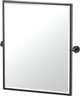 Gatco 4249XFSM Latitude II Framed Rectangle Pivot Mirror, 25 Inch, Matte Black