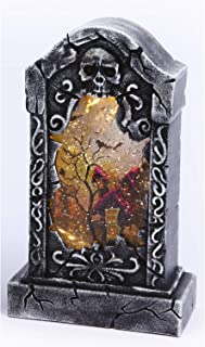 One Holiday Way Spooky Light Up Animated Tombstone Water Globe with Spinning Halloween Figures – Tabletop Halloween Decoration (Haunted House)