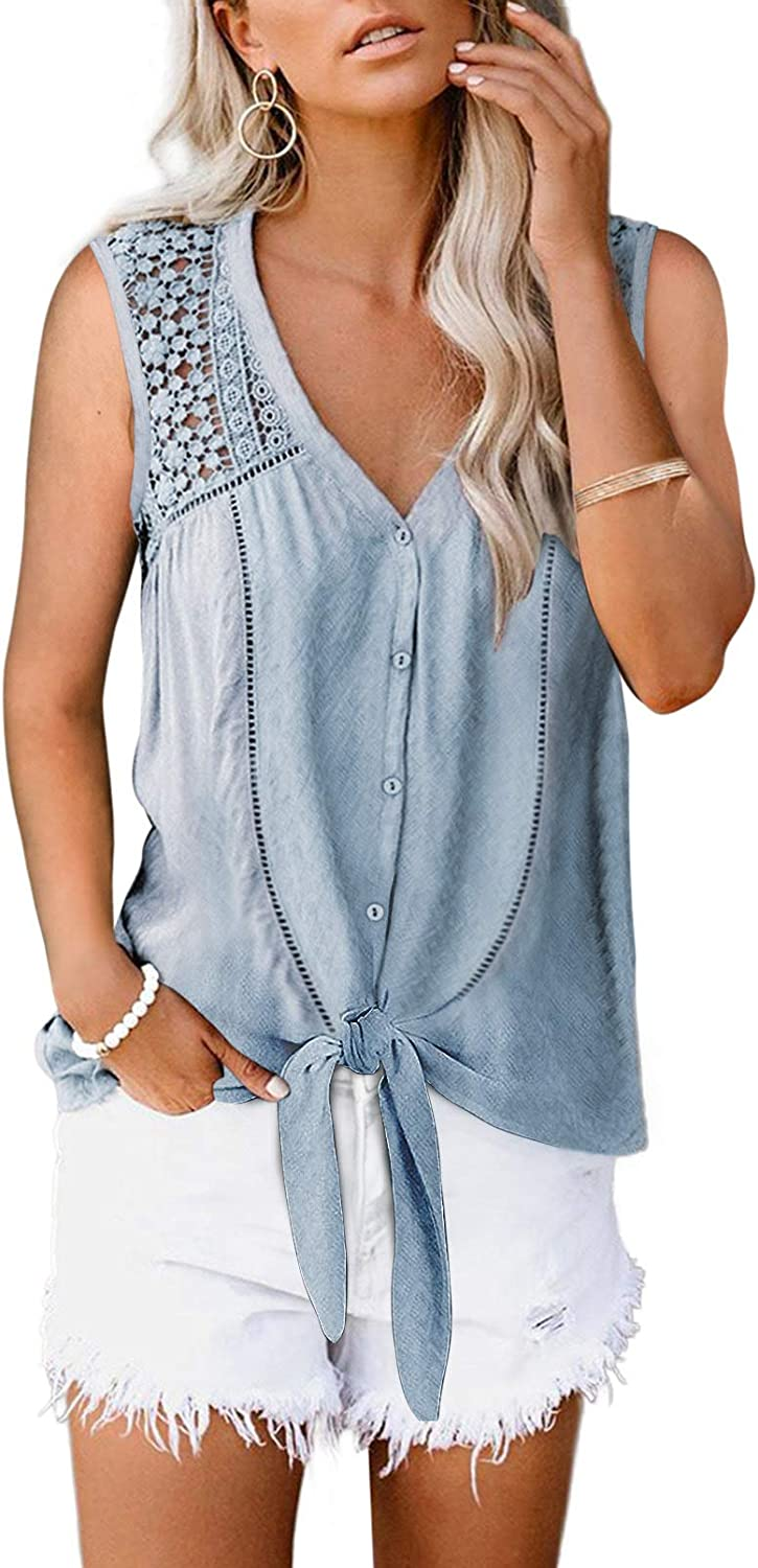 Aleumdr Women's Lace Crochet V Neck Sleeveless Button Down Casual T Shirts Blouses Tops