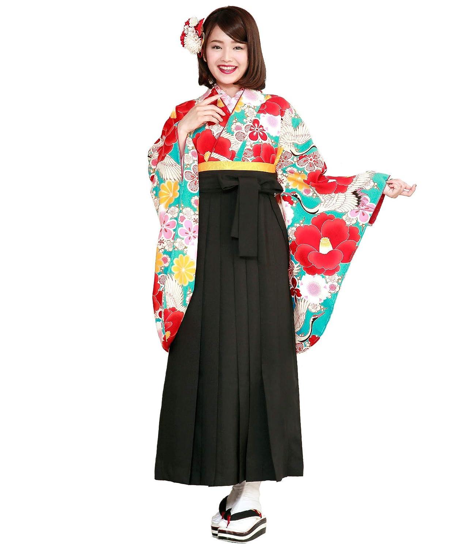 (ソウビエン)袴セット 卒業式 緑青 赤 黒 椿 梅 鶴 小振袖