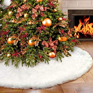 yuboo Christmas Tree Skirt, 48 inches Large Snowy White Faux Fur Tree Skirt for Xmas Holiday Decorations