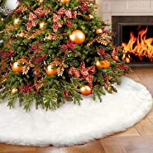 yuboo Faux Fur Christmas Tree Skirt 48 inches Snowy White Tree Skirt for Christmas Decorations for Party and Holiday (48 i...