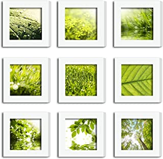 XUFLY 9Pcs 4x4 Real Glass Wood Frame White Square, Fit Family Image Pictures Photo (Window 3.6x3.6 inch), Desktop Stand On Wall Family Combine Leaves Flower Green Decoration (10 Set Pictures) (19)