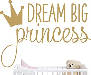 JURUOXIN Dream Big Princess with Crown Wall Decal Vinyl Sticker for Kids Baby Girls Bedroom Decoration Nursery Home Decor Mural Design YMX18 (Gold)