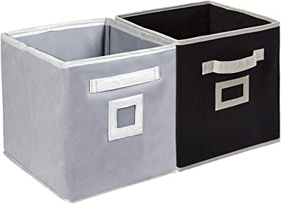 Kuber Industries Non Woven 2 Pieces Fabric Foldable Storage Cube Toy, Books, Shoes Storage Box with Handle, Extra Large (Grey & Black)-KUBMART2129