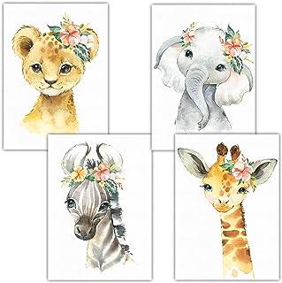 Frechdax® Lot de 4 posters pour chambre d'enfant | Photos chambre bébé A4 | Déco fille garçon, Lot de 4 « fleurs, safari...