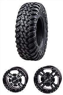 Bundle Package- One 30x10-14 Tusk Terrabite Tire on One Tusk Beartooth Wheel - 4/137 Bolt Pattern - Kawasaki Teryx 800 750 (4+3 Offset, Machined/Black)