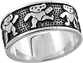 Sterling Silver Dancing Bears Ring for Women 5/16 inch sizes 6 - 10