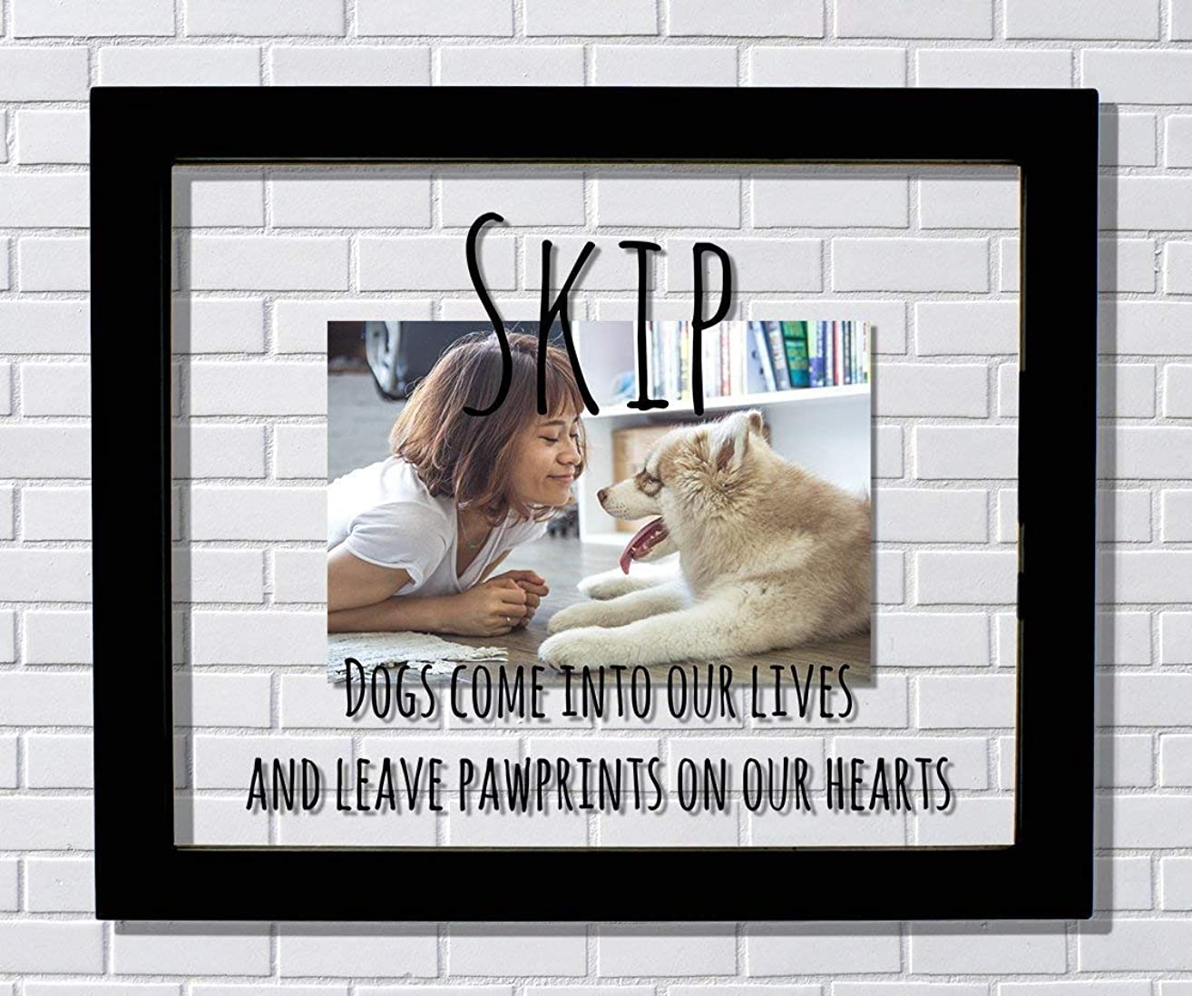 Custom Dog Frame - Floating Frame - Dogs come into our lives and leave pawprints on our hearts - Photo Picture - Dog Pet Loss Remembrance - Personalized Custom Name