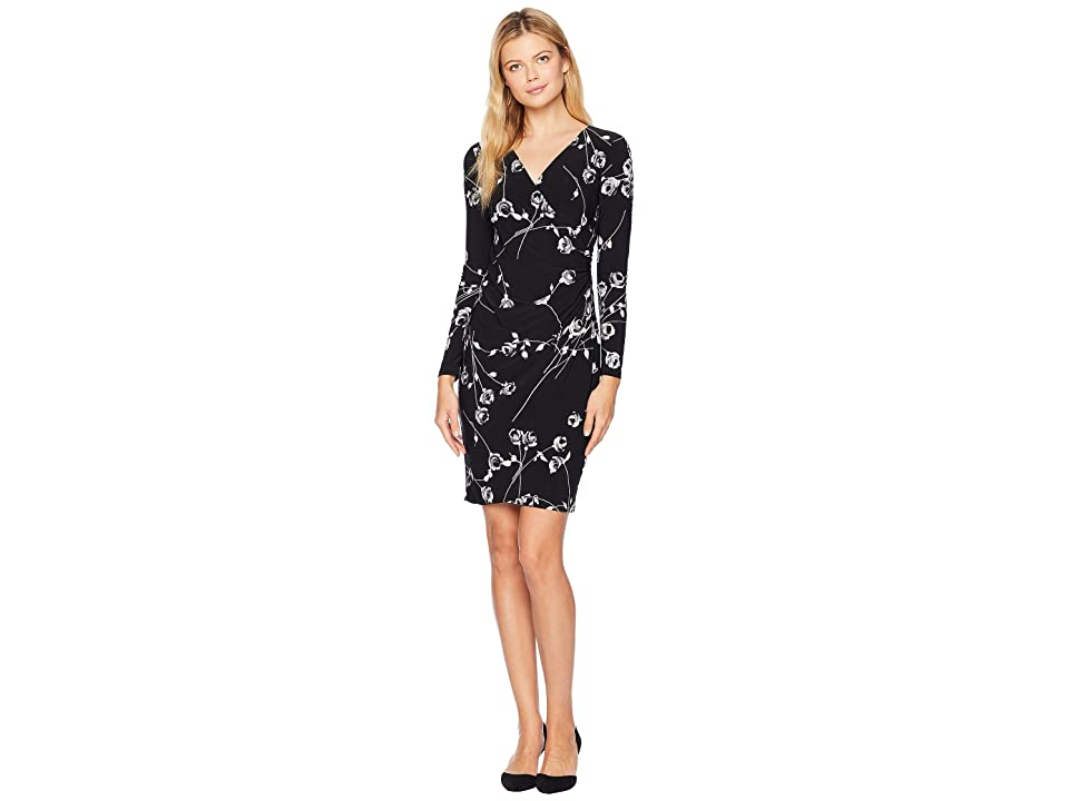 LAUREN Ralph Lauren Galespie Floral Kellyn Long Sleeve Day Dress (Black/Grey/Multi) Women
