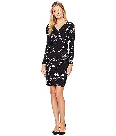 LAUREN Ralph Lauren Galespie Floral Kellyn Long Sleeve Day Dress (Black/Grey/Multi) Women