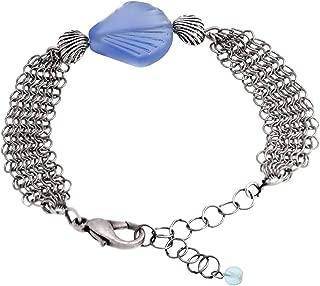 Scallop Shell Sea Glass Aqua and Mesh Bracelet by Cape Cod Jewelry-CCJ