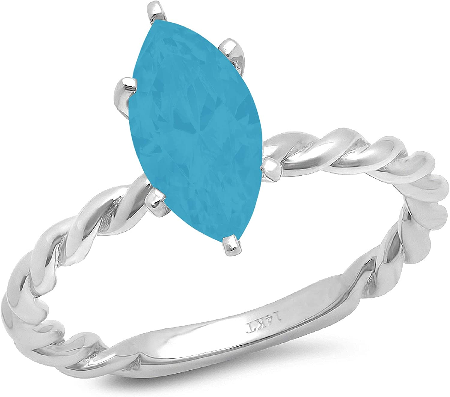 1.9ct Marquise Cut Solitaire Rope Twisted Knot Flawless Simulated CZ Blue Turquoise Ideal 6-Prong Engagement Wedding Bridal Promise Anniversary Designer Ring Solid 14k White Gold for Women
