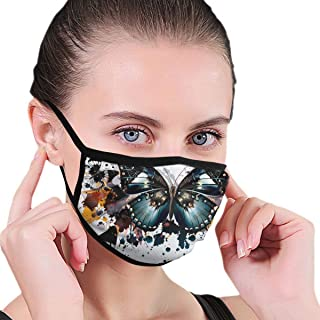 Anti-Allergies Earloop Face Mask for Women Men Kids, Watercolor Splashes Butterfly Polyester Respirator for Pollen Smog, Medical, Camping - Healthy