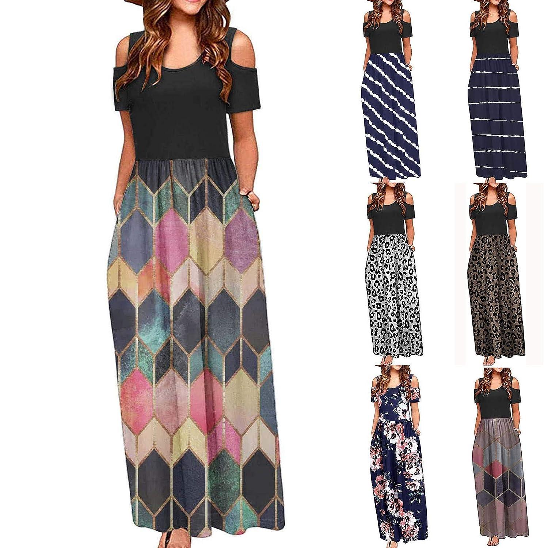 Women's Cold Shoulder Short Sleeve Loose Maxi Dresses Casual Pockets Long Dresses Floral Maxi Bohemian Dress