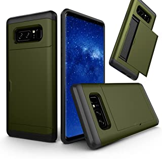 FastSun Luxury Shockproof Thin Card Holder Case Cover for Samsung Galaxy Note 8 (Army Green)