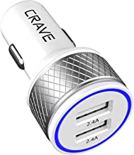 Crave DualHub 24W 4.8A 2 Port Dual USB Universal Car Charger, Smart Charge IC Technology - White