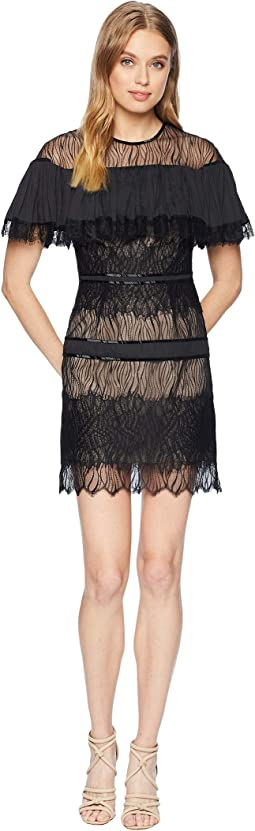 Short Sleeve Pleated Lace Dress w/ Beading