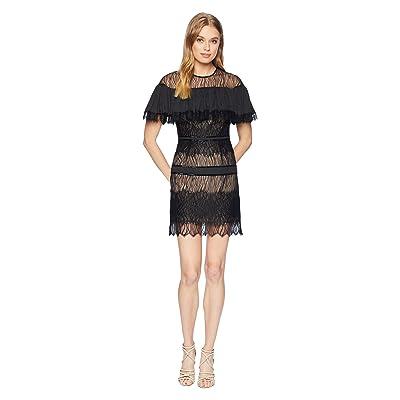 Halston Heritage Short Sleeve Pleated Lace Dress w/ Beading (Black) Women