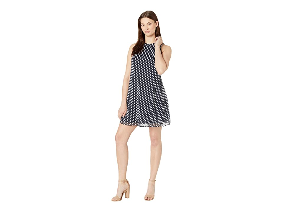 Tommy Hilfiger Dot Chiffon Trapeze Dress (Black/Ivory) Women