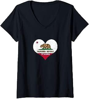 Womens I Love Petaluma, California - CA Republic Flag Heart V-Neck T-Shirt
