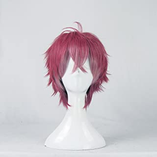 DIABOLIK LOVERS Sakamaki Ayato Short Red Brown Pink Mix Cosplay Wig + Free Wig Cap
