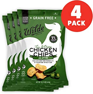 Jalapeno Chicken Chips by Wilde Brands | Protein Snack | Made with Real Chicken | Keto Friendly, Paleo Certified | Antibiotic and Gluten Free | 2.25oz Bag (4 count)